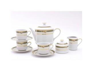 Сервиз чайный на 12 персон 27 предметов Leander Сабина, Фрукты на зелёной ленте декор 0711