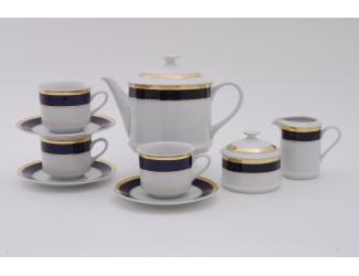 Сервиз чайный 15 предметов 6 персон Leander Сабина Кобальтовая лента декор 0767