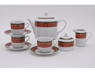 Сервиз чайный 15 предметов 6 персон Leander Сабина Красна лента декор 0979 02160725-0979