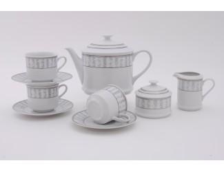 Сервиз чайный 15 предметов 6 персон Leander Сабина Серый орнамент декор 1013