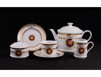 Сервиз чайный 27 предметов 12 персон Leander Сабина Золотая лента (Версаче) декор A126
