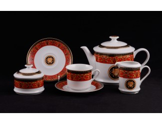 Сервиз чайный 15 предметов 6 персон Leander Сабина Красна лента (Версаче) декор B979