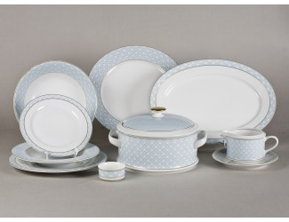 Сервиз столовый 25 предметов 6 персон Leander Сабина Синее плетение декор 243B