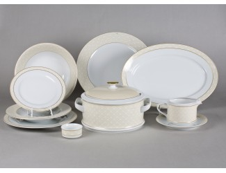Сервиз столовый 25 предметов 6 персон Leander Сабина Бежевое плетение декор 243D 02162021-243D