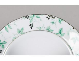 Блюдо круглое Leander 32см Соната 6017 Зелёные листья декор 1381