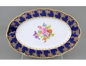 Блюдо овальное 36см Leander Мэри-Энн Мелкие цветы (Кобальт) декор 0086 03111513-0086