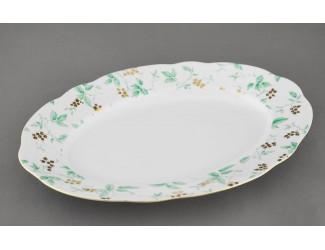 Блюдо овальное 36см Leander Мэри-Энн Зелёные листья декор 1381
