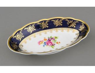 Блюдо овальное 23см Leander Мэри-Энн Мелкие цветы (Кобальт) декор 0086