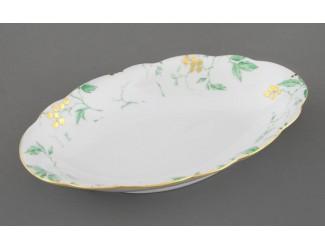 Блюдо овальное 23см Leander Мэри-Энн Зелёные листья декор 1381