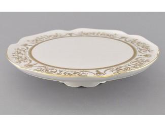 Тарелка для торта на ножке 28см Leander Сабина Золотой орнамент декор 1373