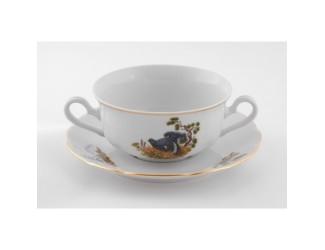 Набор чашек для супа с блюдцем  6шт 300мл с ручками Leander Мери-Энн Охота декор 0363