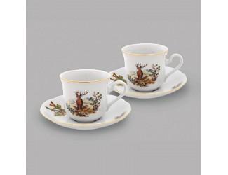Набор чайных пар на 2 персоны 4 предмета Leander Охота декор 0363