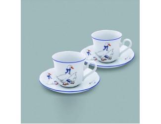 Набор из двух чайных пар  на 2 персоны 4 предмета 0,20л Leander Гуси декор 0807