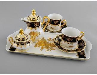 Кофейный сервиз тет-а-тет на 2 персоны 7 предметов Leander Мэри-Энн Золотая роза кобальт декор 0431