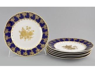 Набор тарелок мелких 6шт 25см Leander Мэри-Энн Золотая роза декор 0431
