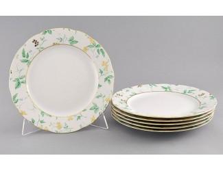 Набор тарелок мелких 6шт 25см Leander Мэри-Энн Зелёные листья декор 1381