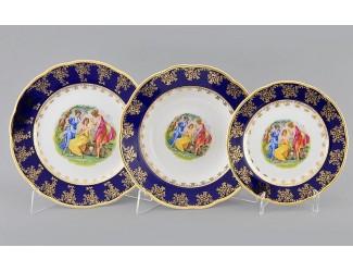 Набор тарелок 18 предметов Leander Мэри-Энн Мадонна кобальт декор 0179
