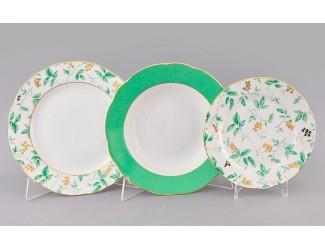Набор тарелок 18 предметов Leander Мэри-Энн Зелёные листья декор 1381