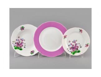 Набор тарелок 18 предметов Leander Мэри-Энн Лиловые цветы декор 2391