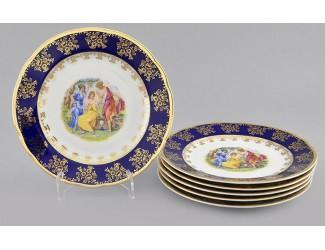 Набор тарелок мелких 6 шт 19см Leander Мэри-Энн Мадонна кобальт декор 0179