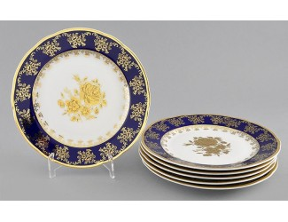 Набор тарелок мелких 6шт 19см Leander Мэри-Энн Золотая роза декор 0431