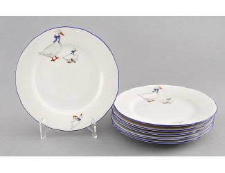 Набор тарелок мелких 6 шт 19см Leander Мэри-Энн Гуси декор 0807