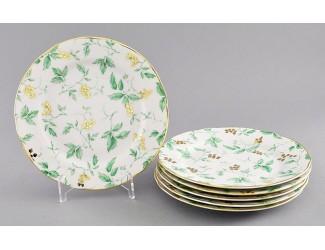 Набор тарелок мелких 6 шт 19см Leander Мэри-Энн Зелёные листья декор 1381
