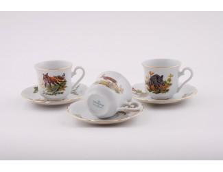 Набор кофейных пар на 6 персон 12 предметов Leander Мэри-Энн Охота декор 0363 03160414-0363