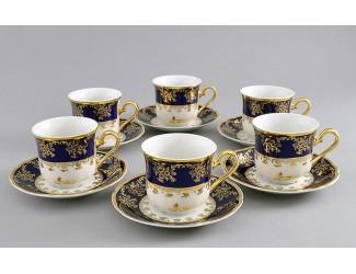 Набор кофейных пар на 6 персон 12 предметов 0,15л Leander Мэри-Энн Золотая роза декор 0431 03160414-0431
