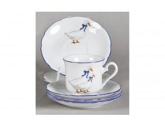 Набор кофейных пар на 6 персон 12предметов Leander Мэри-Энн Гуси декор 0807
