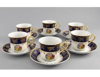 Набор чайных пар на 6 персон 12 предметов 0,20л Leander Мэри-Энн Мадонна кобальт декор 0179 03160415-0179
