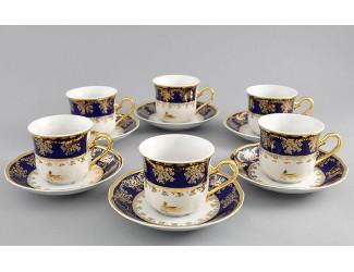 Набор чайных пар на 6 персон 12 предметов 0,20л Leander Мэри-Энн Золотая роза кобальт декор 0431