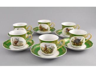 Набор чайных пар на 6 персон 12 предметов Leander Мэри-Энн Царская охота декор 0763
