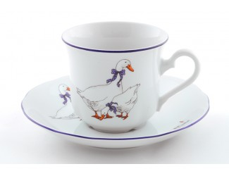 Набор чайных пар на 6 персон 12 предметов Leander Мэри-Энн Гуси декор 0807