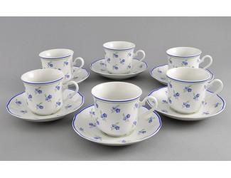 Набор чайных пар на 6 персон 12 предметов 200мл Leander Мэри-Энн Синие цветы декор 0887