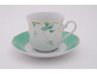 Набор чайных пар на 6 персон 12 предметов 0,20л Leander Мэри-Энн Зелёные листья декор 1381