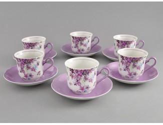 Набор чайных пар на 6 персон 12 предметов Leander Мэри-Энн Лиловые цветы декор 2391