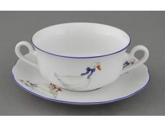 Набор чашек для супа с блюдцами на 6 персон 12 предметов Leander Мэри-Энн Гуси декор 0807
