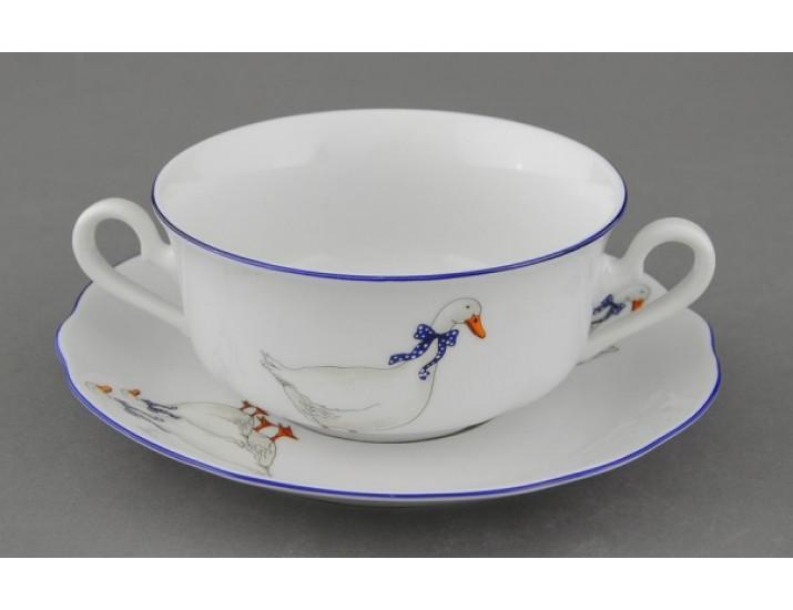 Чашка для супа с блюдцем 350мл Leander Мэри-Энн Гуси декор 0807