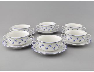 Набор чашек для супа с блюдцами 350мл Leander Мэри-Энн Синие цветы декор 0887