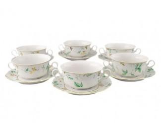 Набор чашек для супа 350мл с блюдцами Leander Мэри-Энн Зелёные листья декор 1381