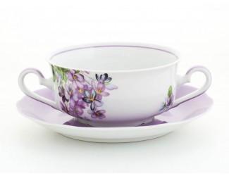 Набор чашек для супа с ручками 360мл 6шт Leander Мэри-Энн Лиловые цветы декор 2391