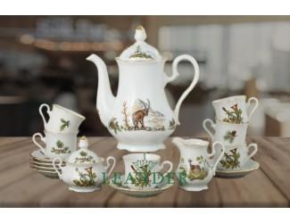 Сервиз кофейный мокко 15 предметов 6 персон Leander Мэри-Энн Охота декор 0363