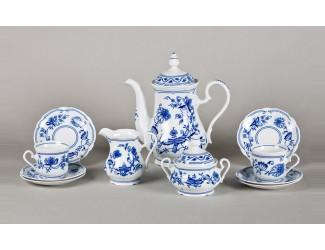 Сервиз кофейный 15 предметов 6 персон 0,15л Leander Мэри-Энн Гжель (Луковый рисунок) декор 0055