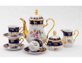 Сервиз кофейный 15 предметов 6 персон 0,15л Leander Мэри-Энн Мелкие цветы (Кобальт) декор 0086