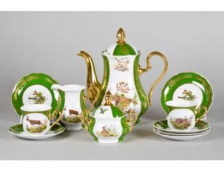 Сервиз кофейный 15 предметов 6 персон 0,15л Leander Мэри-Энн Царская охота декор 0763