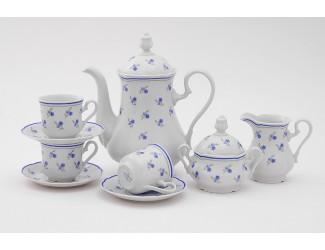 Сервиз кофейный 15 предметов 6 персон Leander Мэри-Энн Синие цветы декор 0887