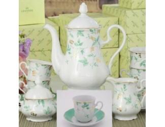 Сервиз кофейный 15 предметов 6 персон 0,15л Leander Мэри-Энн Зелёные листья декор 1381