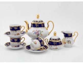 Сервиз чайный 27 предметов 12 персон Leander Мэри-Энн Мелкие цветы (Кобальт) декор 0086