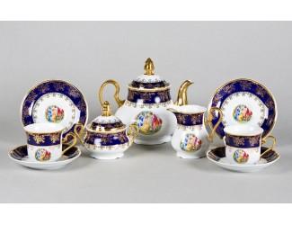 Сервиз чайный 27 предметов 12 персон Leander Мэри-Энн Мадонна кобальт декор 0179